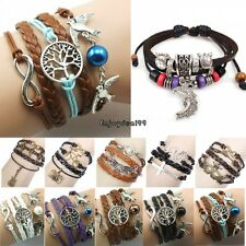 OO55 New Wrap Multilayer Leather Braided Bracelet Chain Fashion Wristband 6types