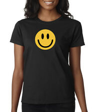 Smiley Happy Face Funny Yellow Smile Cute Ladies T-Shirt S-2XL