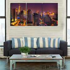Original Oil Painting HD Print Wall Decor Art on Canvas,Citys(Unframed) 3PCS