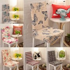 Stretch Polyester Chair Covers Removable Short Dining Room Stool Seat Slipcover