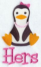 Personalised & Custom Embroidered Hers Penguin Towel Set  Face,Hand&Bath Towels