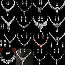 Best Prom Wedding Bridal Party Crystal Rhinestone Necklace Earring Jewelry Sets