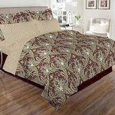 NEW Twin Full Queen King Bed Taupe Ivory Burgundy Damask 8pc Comforter Sheet Set