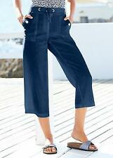 KALEIDOSCOPE FRENCH NAVY LINEN MIX CROPPED TROUSERS SIZE 10 & 12 BNWT