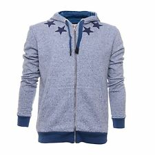 Men's Brave Soul Zip Through Star Detail Hoodie in Black Blue Hooded Sweatshirt