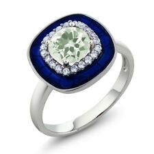 1.34 Ct Round Green Amethyst 925 Sterling Silver Ring
