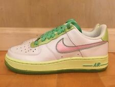 NIKE GIRLS AIR FORCE 1 LOW WHITE PINK GREEN EASTER GS KIDS SZ 4-7Y  314219-163 A