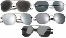 Military Pilots Aviator Sunglasses Metal Lenses w/Case - 52 MM