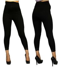 Maternity Womens Leggings Black Lace Detail Solid Fitted Stretch Ankle S M L XL