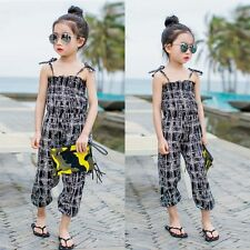 Kid Girl Strap Romper Jumpsuit One-piece Floral Pants Trousers Outfit Cloth 2-7Y