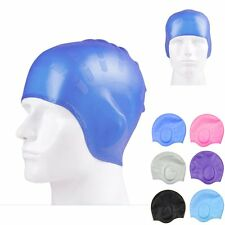 Silicone Waterproof Swim Cap Hat for Ladies Women Long Hair With Ear Cup HOT~