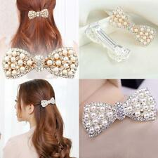Crystal Rhinestone Hair Bow Hair Clip Pearl Ornaments Hairpin Women Barrette