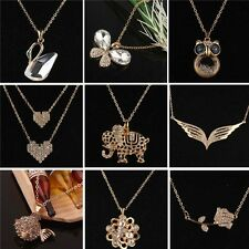 9 Styles Women 14k Gold Plated Austrian Crystal Dress Chain Necklace Jewelry
