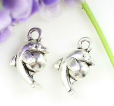 10/30/50ps lovely Tibet silver dolphins Jewelry finding Charm Pendant 15x9mm