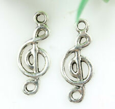 Wholesale 10/30/50pc double side Musical Notes Tibet silver Charm Pendant 8x19mm