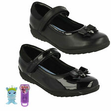 TING FEVER GIRLS VELCRO STRAP LEATHER BOW DETAIL MARY JANE SCHOOL SHOES CLARKS