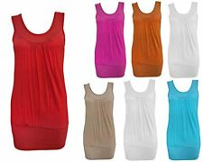 LADIES WOMENS PLAIN GATHERED SLEEVELESS STRETCH RUCHED VEST LONG TOP SIZE 8-14