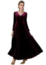 All size Velvet Ruffle Long Sleeve Evening Party Ball Gown Long Maxi Dress