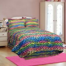NEW Twin Full Queen King Bed Rainbow Leopard Wild Animal 4 pc Comforter Set NWT