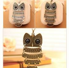 hot women fashion Jewelry Bronze Owl pendant Necklaces long Retro Sweater Chain