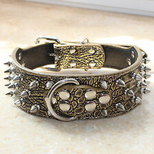 Large Breed Spiked Studded Leather Dog Collar Pitbull Bully Husky Boxer S M L XL