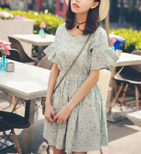 New Women girl Fashion Korean Summer Dress One Piece Dress With Floral Casual