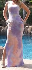 Maya Antonia-3XL SIZE- Tie-Dye Purple-White-Coral Sexy Maxi Dress,Extra Long