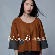 Women Jacket Short Outwear O Neck Wool Trench Coat Chinese Traditional Style