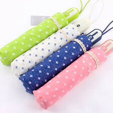 Anti UV Windproof Sun Rain Polka Dot Lace Automatic Folding Umbrella Parasol