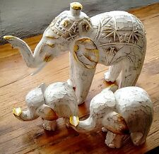 Elephant Wood Carving Ornament Gift Fair Trade White Hand Carved Statue Animal