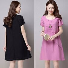 Fashion Lady Casual Solid Crew Neck Short Sleeve Loose Career Summer Mini Dress