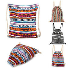 Ethnic Canvas Drawstring Backpack Rucksack School Book Travel Sport Gym Tote Bag