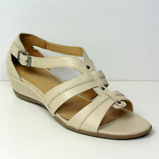 New M&S FOOTGLOVE Real LEATHER Low Wedge SUMMER SANDALS ~ Size 5.5 ~ CREAM