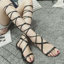 LADIES WOMENS GLADIATOR SANDALS FLAT Knee High STRAPPY SUMMER Zipper Shoes Boots