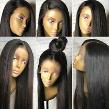 Silk Top Lace Front Wigs Human Hair Yaki Straight 100% Indian Glueless Remy Hair