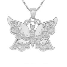 "Sterling Silver BUTTERFLY Pendant, Made in USA, 18"" Italian Box Chain"
