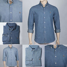 POLO by Ralph Lauren Mens Denim Chambray Oxford Sport Shirt Cotton New RRP £109!