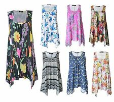 New Womens Ladies Summer Floral Sleeveless Hanky hem Top Flared Dress Plus Size