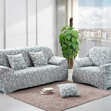 Blue White Flower Stretch Slipcover Sofa Loveseat Chair Furniture Couch Cover