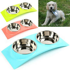 Double Stainless Steel Pet Dog Cat Puppy Bowls Food Water Feeding Dish Non Slip