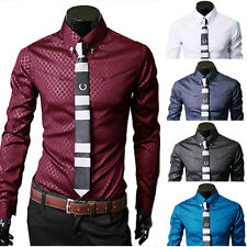 New Fashion Mens Luxury Business Stylish Slim Fit Long Sleeve Casual Dress Shirt