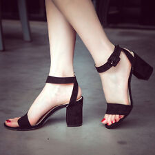 Fashion Women's Suede Ankle Strap Buckle Sandals Block High Heels Peep Toe Shoes