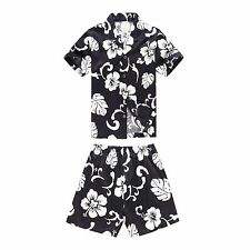 Boy Toddler Aloha Shirt Set Shorts Beach Hawaii Cruise Luau Cotton Navy Hibiscus