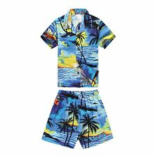 Boy Toddler Aloha Shirt Set Shorts Beach Hawaii Cruise Luau Cotton Blue Sunset