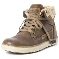 Mustang Hi Top Shearl Pu Mens Boots Brown New Shoes