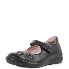 Girls Kids Garvalin Esther Black Leather Velcro School Shoes Shu Size
