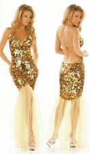 MADE TO ORDER SEXY SEQUIN PALETTE GOLD EVENING DRESS