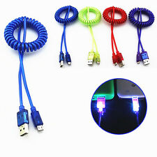 Spiral Coiled LED Light-up Micro USB Fast Charging Data Sync Cable For CellPhone