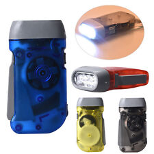 New 3 LED Manual Dynamo Flashlight Hand Pressing Crank Wind Torch No Battery