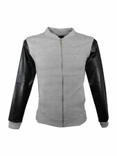 Mens King Kouture PU Sleeved Zip up Jacket Grey Size Small